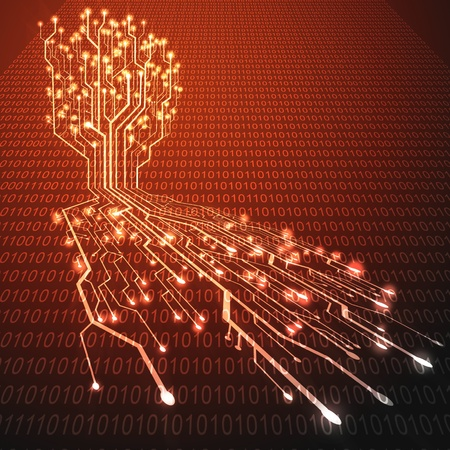 hots: Red hot circuit board in Tree shape, Technology background  Stock Photo
