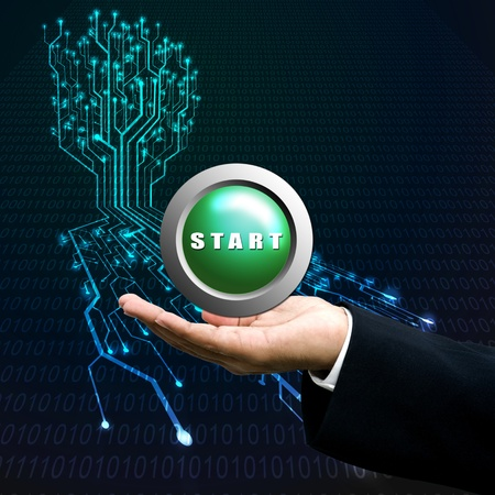 Start button on manager hand, Technology background  photo