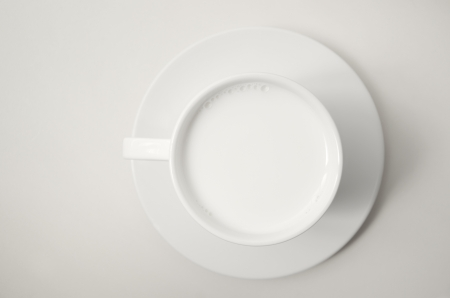 Hot milk cup on table, Top view photo