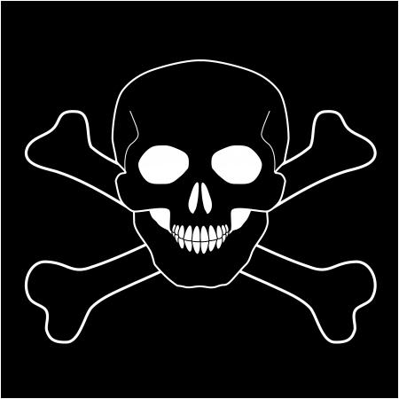 skull and crossed bones: Cr�neo con huesos cruzados, Vector icon