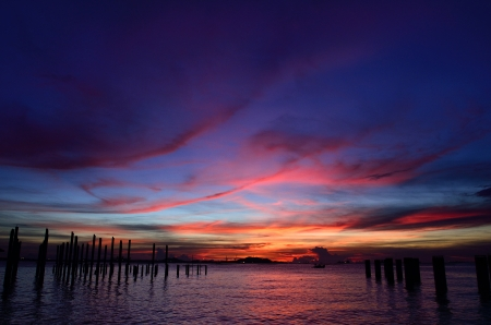 Sichang island silhouette with twilight sky, Thailand photo