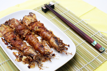 Fried garlic Mantis shrimp, Thai food photo