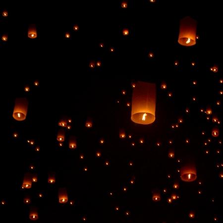Floating lantern, Yi Peng Balloon Festival in Chiangmai Thailand  Фото со стока