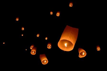 lantern festival: Floating lantern, Yi Peng Balloon Festival in Chiangmai Thailand  Stock Photo
