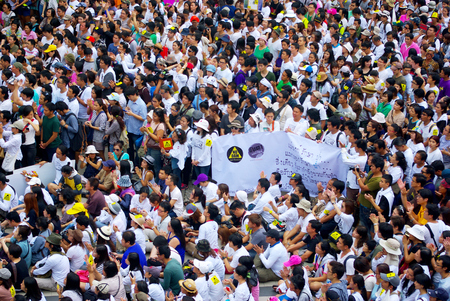 environmentalists: BANGKOK, THAILAND - SEPTEMBER 22   Huge crowd listen speech for against the construction of a dam in Mae Wong National Park on 22 September 2013 at Bangkok Art and Culture Centre, Thailand