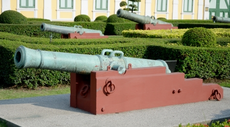 Ancient canons in garden of Ministry of Defense, Thailand