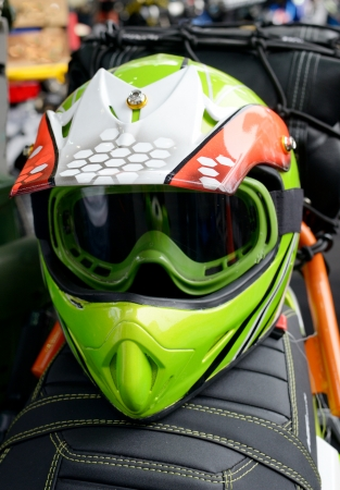 helmet seat: Motorcycle helmet on seat