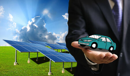 Green energy for transportation, Solar power car with sustainable energy concept photo