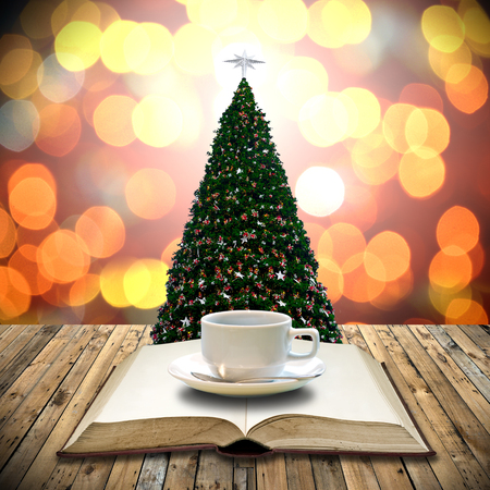 Drink coffee with bible in Christmas day photo