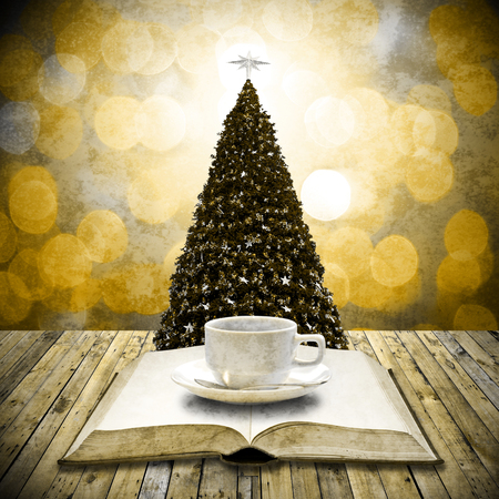 Read bible and drink coffee in Christmas day, Retro style photo