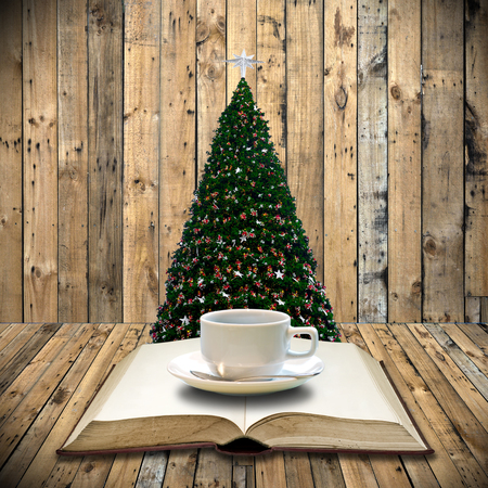 Drink coffee and read bible in Christmas day photo