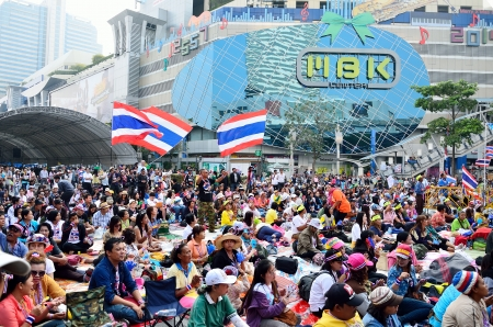 protesters: BANGKOK-JAN 22   Unidentified protesters gather Patumwan intersection to anti government and ask to reform before election with