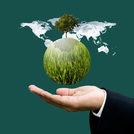 World green business and sustainable business concept photo