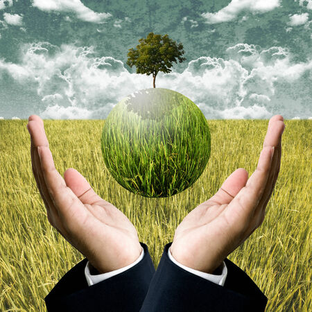 Sustainable agriculture business for protect the earth concept photo