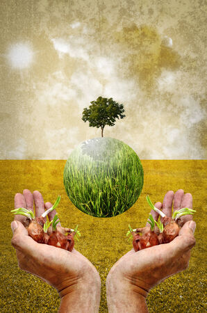 Help the earth by planting tree concept in vintage style photo