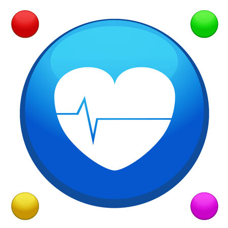 Heart rate icon button vector with 4 color included Illustration