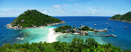 View point from top of mountain for see the beach, sea and nature of NangYuan island  photo