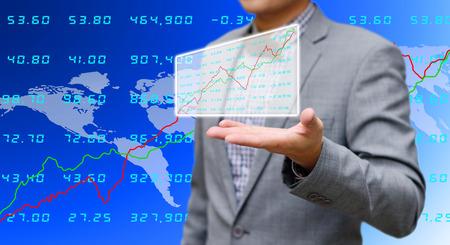 Investor sharing analyze stock exchange data photo