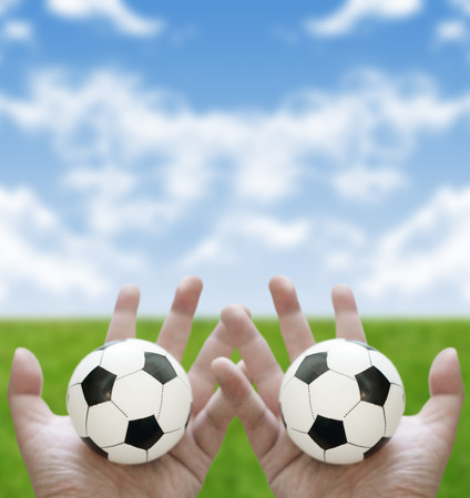 let s: Let s play football together concept Stock Photo