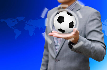 businees: Soccer game concept, Ball in the hand