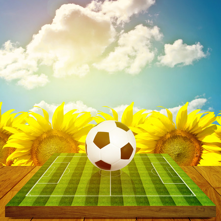 Ball on soccer field board game with sunflower farm  photo