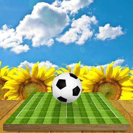 brettspiel: Ball auf Fu�ballplatz Brettspiel mit Sonnenblumenfarm Hintergrund