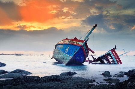 CHONBURI- JUNE 20   Shipwreck on June 20, 2014 in Ang Sila, Chonburi, Thailand