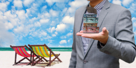 Businessman offer the summer trip, Vacation concept photo