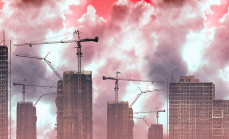 Abstract construction site with smoke and dust pollution background photo