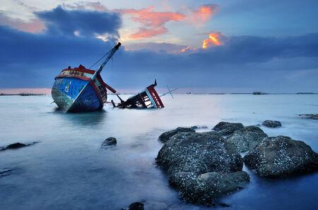 CHONBURI- JUNE 20   Shipwreck on June 20, 2014 in Ang Sila, Chonburi, Thailand   photo