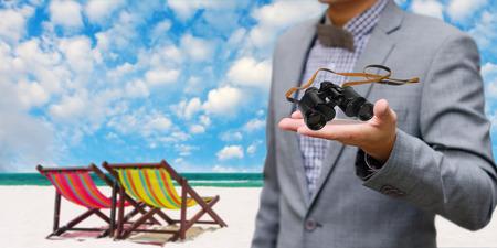 Vison concept, Businessman get the binocular photo