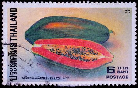 THAILAND - CIRCA 1986 : A stamp printed in Thailand shows image of Papaya or Carica papaya Linn, circa 1986
