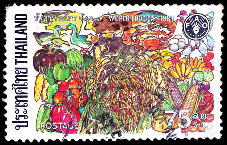 THAILAND - CIRCA 1981 : A stamp printed in Thailand shows image of food, To commemorate World food day, circa 1981
