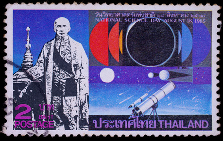 THAILAND - CIRCA 1985 : A stamp printed in Thailand shows image of King Rama IV with astronmy, To commemorate National science day, circa 1985