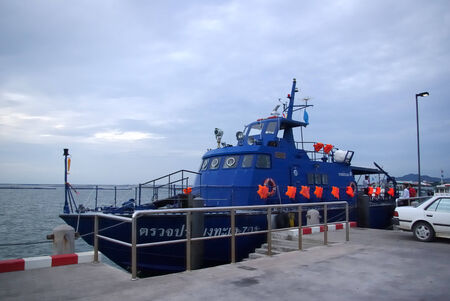 fisheries: CHONBURI, THAILAND - SEPTEMBER 23 :Investigator ship of Department of Fisheries at Koh loi port on September 23, 2013 in Sriracha, Chonburi, Thailand