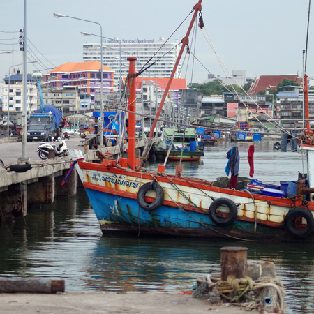 folkways: Chonburi, Thailand - October 17 : Fisherman boat at dock on 17 October, 2013 in Siracha, Choburi, Thailand Editorial