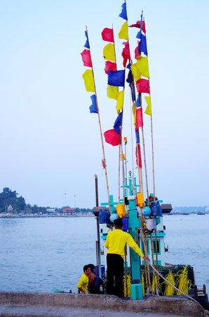 CHONBURI, THAILAND - October 26 : Fisherman in boat on 26 October 2013 in Chonburi, Thailand