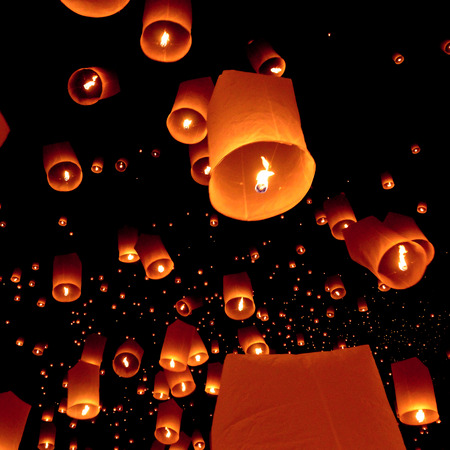 Floating lantern, Yi Peng Balloon Festival in Chiangmai Thailand photo