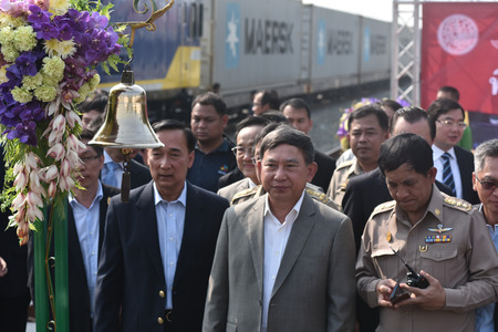 chonburi: CHONBURI - JANUARY 23 : The transfer ceremony of Diesel-electric locomotive to State Railway of Thailand on 23 January 2015 at Sriracha junction in Sriracha, Chonburi, Thailand