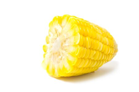 cross processed: Boiled corn isolated on white background
