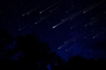 meteor: Meteor shower in night sky illustration