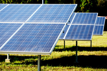 Solar cell panel in solar farm close up in Thailand