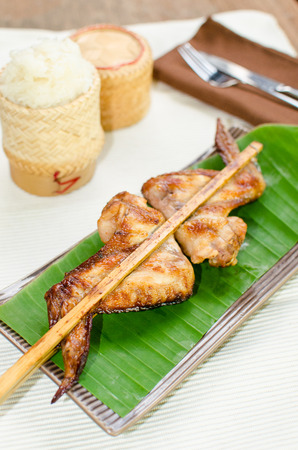 roasting: Roasting chicken with sticky rice