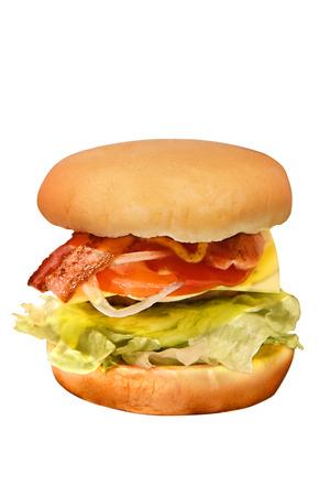 appetizing: Appetizing burger isolated on white background