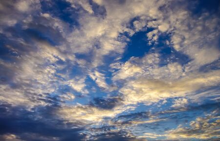 skyscape: Nice cloudy sky with sunset light