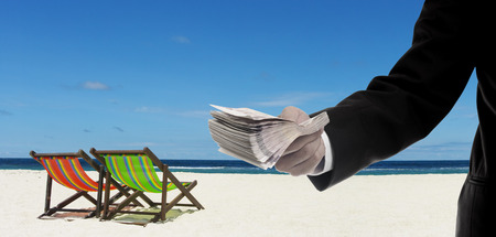 pay for: Businessman pay for rent the beach Investment concept Stock Photo