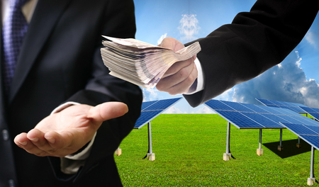 pay for: Investor pay for build solar farm to contractor concept Stock Photo