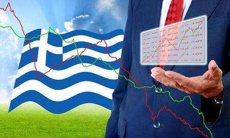 analyzer: Analyzer carry stock market data in hand, Financial Crisis in Greece concept