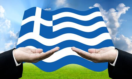 dept: Creditors ask for pay dept, Financial Crisis in Greece concept Stock Photo