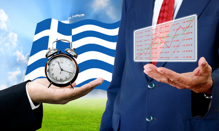 show time: Creditor show time limit and analysis chart, Financial Crisis in Greece concept Stock Photo